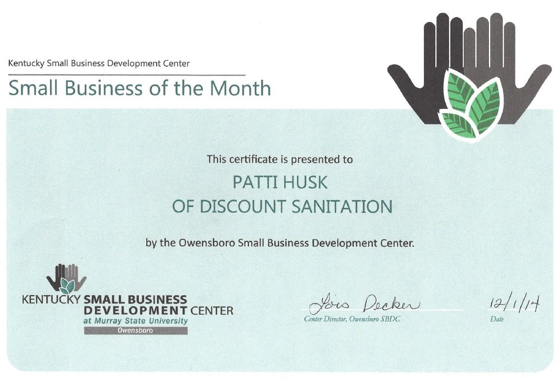 Small Business of the Month Certificate